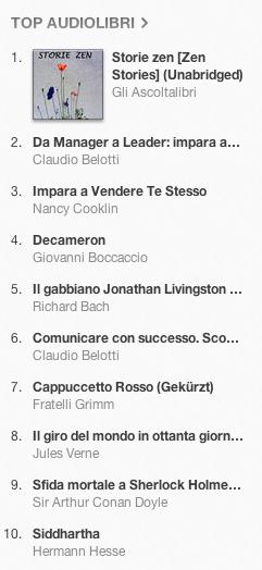 classifica degli audiolibri piu venduti su iTunes Store 10-17 dicembre 2012