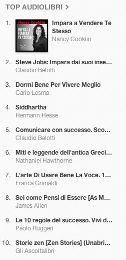 La classifica degli audiolibri più venduti su iTunes Store 25 dicembre 2012 - 1 gennai0 2013