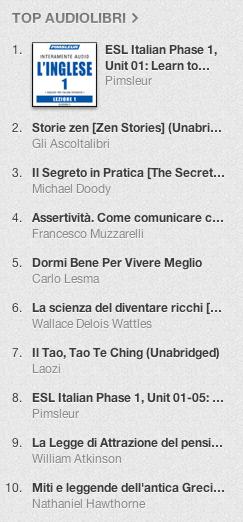 La classifica degli audiolibri più venduti su iTunes Store 18-25 febbraio 2013