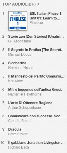 La classifica degli audiolibri più venduti su iTunes Store 11-18 marzo 2013