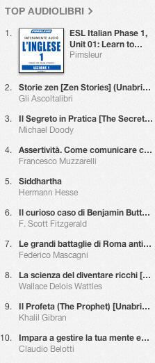 La classifica degli audiolibri più venduti su iTunes Store 25 marzo - 1 aprile  2013
