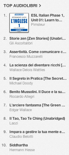 La classifica degli audiolibri più venduti su iTunes Store 22-29 aprile  2013