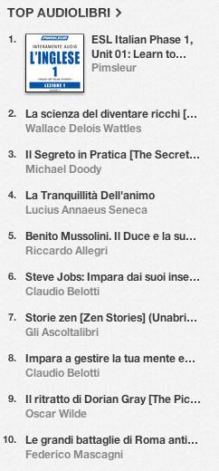 La classifica degli audiolibri più venduti su iTunes Store 1-8 luglio 2013
