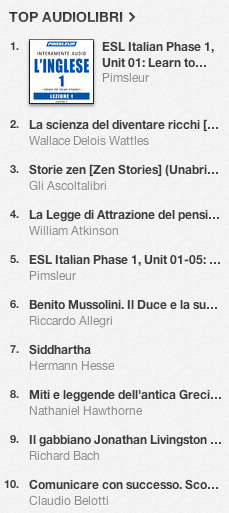 La classifica degli audiolibri più venduti su iTunes Store 29 luglio - 5 agosto 2013