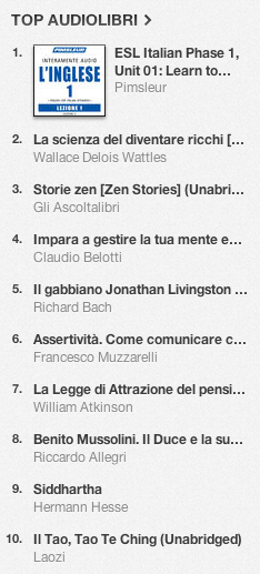La classifica degli audiolibri più venduti su iTunes Store 5-12 agosto 2013