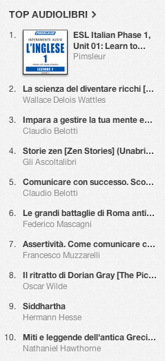 La classifica degli audiolibri più venduti su iTunes Store 12-19 agosto 2013