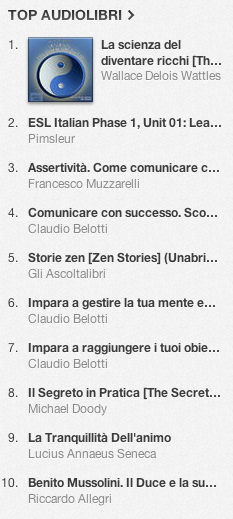 La classifica degli audiolibri più venduti su iTunes Store 19-26 agosto 2013