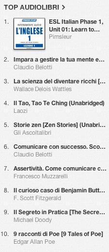 La classifica degli audiolibri più venduti su iTunes Store 7-14 ottobre 2013