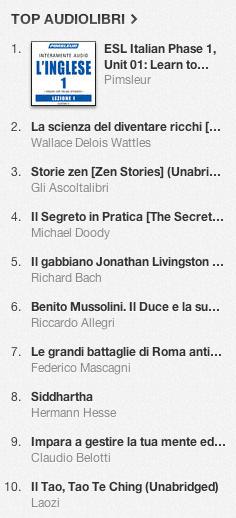 La classifica degli audiolibri più venduti su iTunes Store 28 ottobre - 4 novembre 2013