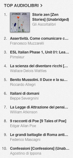 La classifica degli audiolibri più venduti su iTunes Store 11-18 novembre 2013