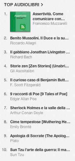 La classifica degli audiolibri più venduti su iTunes Store dal 31 dicembre 2013 al 6 gennaio 2014