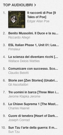 La classifica degli audiolibri più venduti su iTunes Store dal 27 gennaio al 3 febbraio 2014
