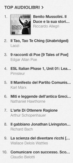La classifica degli audiolibri più venduti su iTunes Store dal 3 al 10 marzo 2014