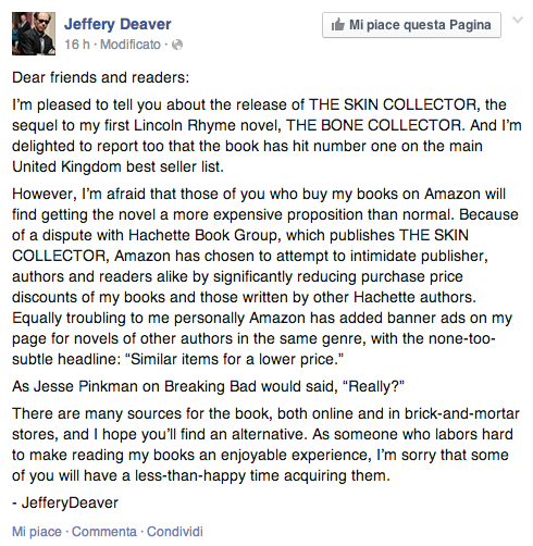 Jeffrey Deaver in guerra contro Amazon, ovvero Amazon Vs Hachette