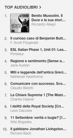 La classifica degli audiolibri più venduti su iTunes Store dal 28 aprile al 5 maggio 2014 OK