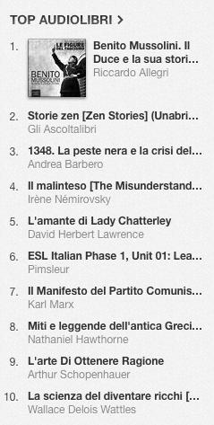 La classifica degli audiolibri più venduti su iTunes Store dal 5 al 12 maggio 2014