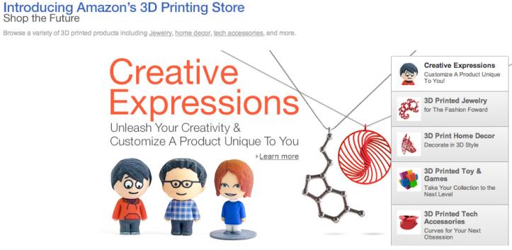 Amazon's 3D Printing Store, ecco lo store dei prodotti che non esistono