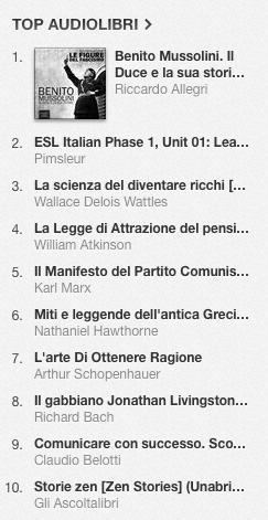 La classifica degli audiolibri più venduti su iTunes Store dal 14 al 21 luglio 2014