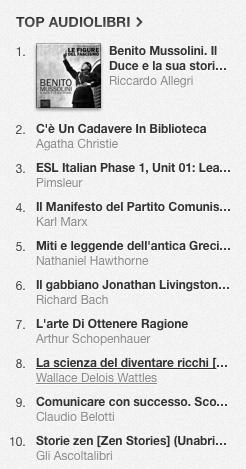 La classifica degli audiolibri più venduti su iTunes Store dal 21 al 28 luglio2014