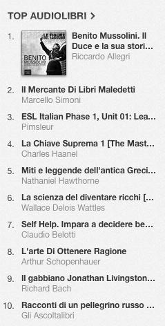 La classifica degli audiolibri più venduti su iTunes Store dal 7 al 14 luglio 2014