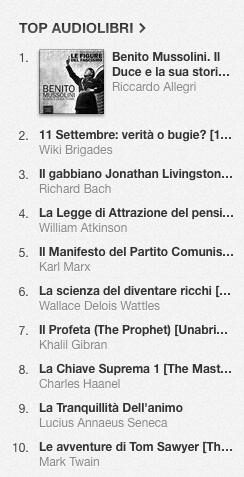 La classifica degli audiolibri più venduti su iTunes Store dall'1 al 7 luglio 2014