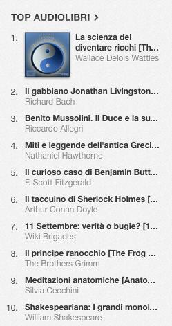 La classifica degli audiolibri più venduti della settimana su iTunes #37