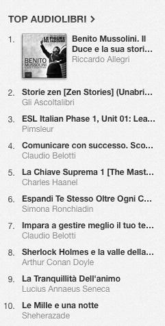 La classifica degli audiolibri più venduti della settimana su iTunes Store