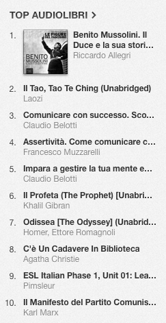 La classifica degli audiolibri più venduti su iTunes Store dal 4 all'11 agosto 2014