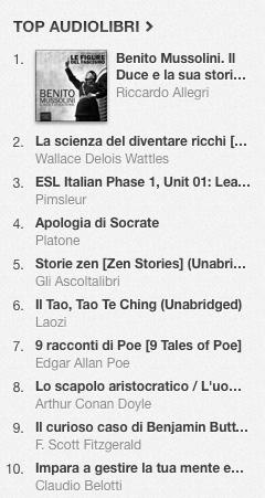La classifica degli audiolibri più venduti della settimana su iTunes