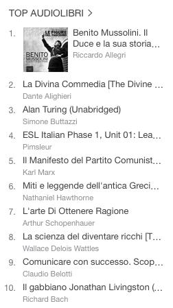 La classifica degli audiolibri più venduti della settimana su iTunes #46