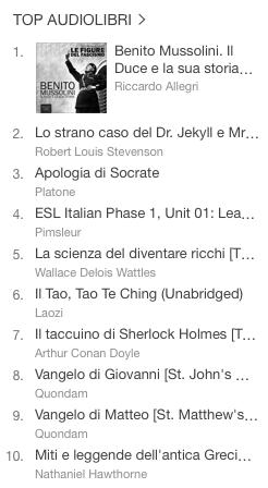 La classifica degli audiolibri più venduti della settimana su iTunes #49