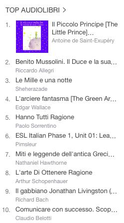 La classifica degli audiolibri più venduti della settimana su iTunes #51