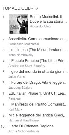 La classifica degli audiolibri più venduti della settimana su iTunes #52