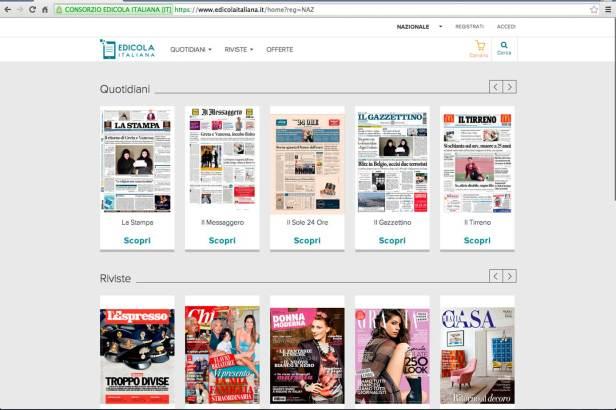 Edicola Italiana, il chiosco digitale per tablet, pc e smartphone