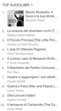 La classifica degli audiolibri più venduti della settimana su iTunes #01