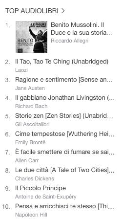 La classifica degli audiolibri più venduti della settimana su iTunes 04