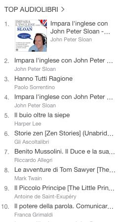 La classifica degli audiolibri più venduti della settimana su iTunes 21