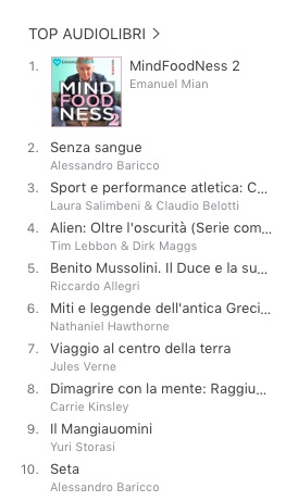 MindFoodNess Vol. 2 audiolibro subito al numero 1 in classifica su iTunes