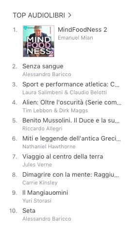 MindFoodNess Vol. 2 audiolibro subito al numero 1 in classifica su iTunes
