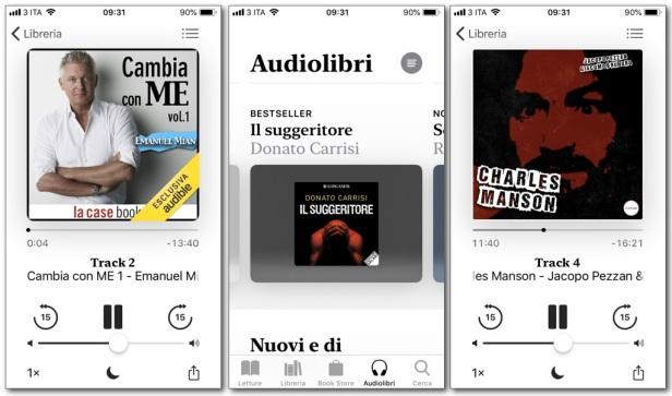 Apple Libri per iPhone, visualizzazione della schermata d'apertura e dei titoli nella library